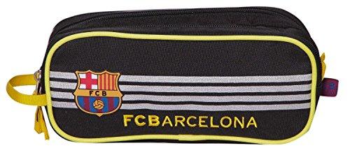 Offiziell lizensiertes ORIGINAL FC FCB Barcelona Schwarz und grau 20cm Federmäppchen / Schlampermäppchen mit 2 Taschen (!!)