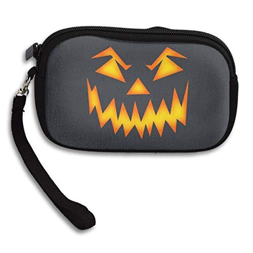 SeCoin Scary Halloween Face Wallet Zipper Burse Notecase Coin Purse Portable Pouch Storage Bags Card Holder Unisex Women -3.8