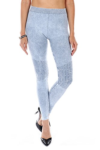 Denim Vintage Leggings (NIKIBIKI Premium Vintage Leggings - Super Soft - Capri & Full Length - Non See Thru - Made In USA (NB6547 Ice Blue, One Size))