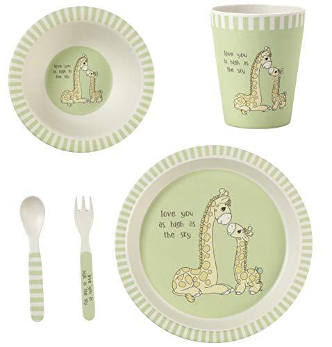 Precious Moments Love You As High As The Sky Giraffe Toddler Mealtime Feeding Set Dinnerware, Green ()