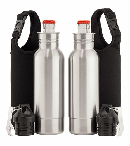 Stainless Steel Bottle Holder - 2x Stainless Steel Beer Bottle Holder Insulator With Opener and Carrying Case