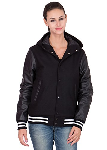 Caliber Apparels Black Leather Sleeves & Black Wool Body Hood Varsity Jacket-Women 4X-L by Caliber Apparels