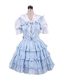 antaina Blue Plaid Cotton Ruffle Vintage Victorian Sweet Lolita Cosplay Dress