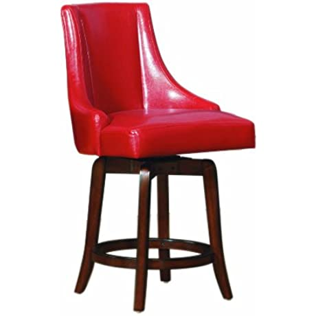 Homelegance 2479 24RDS Annabelle Red Synthetic Leather Swivel 24 Inch Counter Bar Stool Set Of 2