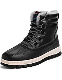 todaysunny Men's Snow Boots Winter Boots Fully Fur Lining Ankle Boots Lace Up Athletic Casual Walking Ankle Boots High Top Shoes Fashion Sneaker