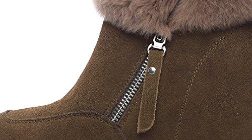 GSHGA En Nouvelles Loisirs Cuir Et Hiver Chaussures De Femmes Automne Véritable Augmenté Brown Chaudes Neige Bottes Bottes x0qtrw0HP