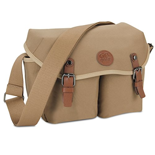 GOgroove DSLR Shoulder Messenger Bag (Tan) for Mirrorless and Micro Four-Thirds Cameras-7 Accessory Pockets, Adjustable Dividers, Tricot Lining and Shoulder Strap-Compatible with Canon, Nikon and More