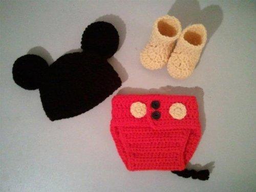 Jastore Mickey Maus Fotografie Prop Baby-Kostüm Süss Crochet häkeln ...