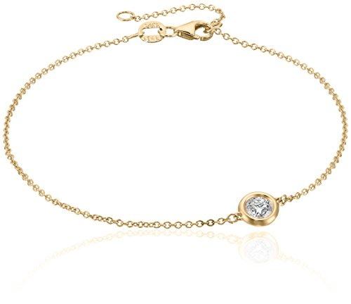 14k Yellow Gold Solitaire Bezel Set Diamond with Lobster Clasp Strand Bracelet (1/3cttw, J-K Color, I2-I3 ()