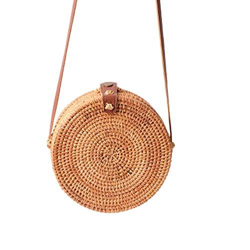 mano Bohemia redonda recorte hecha Primario de circular trenzada tejida fiveschoice bolsa retro rattan paja a playa tejida Color n8wdAAz4qx