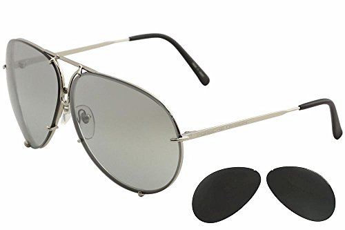 Porsche Designs Sunglasses P8478 B Titanium Gray Gradient with Silver Mirror Green 69 10 - Vintage Sunglasses Porsche
