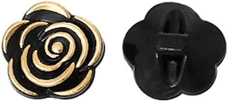 scrapbooking et autres projets Elles sont id/éales pour couture artisanat 10/x 12/mm en acrylique Noir et Dor/é Fleur /à coudre Boutons Incomplet