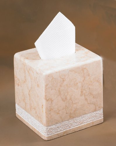 Creative Home Champagne Marble Stone Tissue Box Holder, Cover-Hand Carved Collection