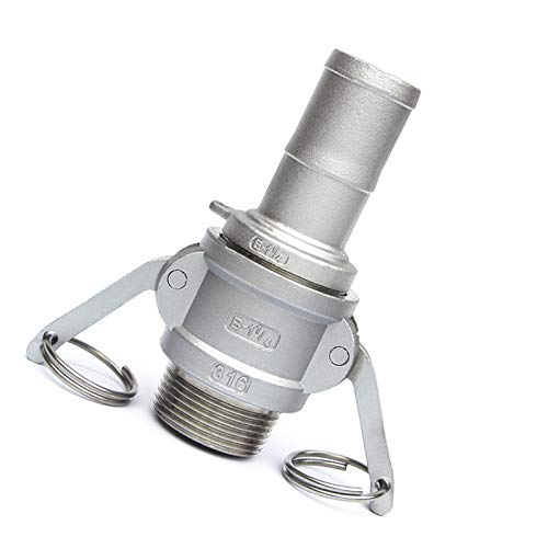 E Type CamLock Fitting Pump Adapter Cam Groove Coupling DP-iot 1-1//2 38mm Hose Barb x 1-1//2 BSP Male Thread 304 Stainless Steel B