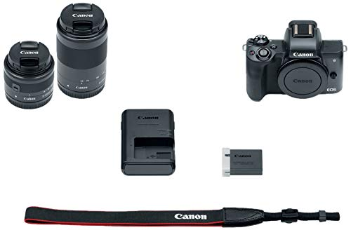 Canon EOS M50 Mirrorless Camera Body and EF-M15-45mm + EF-M 55-200mm Lenses and with Dual Pixel CMOS AF and 4K Video – Black (Renewed)