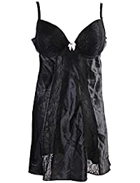 32cbaaf333 Lace-Inset Satin Chemise (Only Black