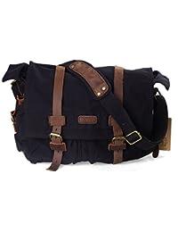 "<span class=""a-offscreen"">[Sponsored]</span>XZ162BK-FBA British Style Retro Unisex Canvas Leather Messenger Shoulder Bag Fits 14.7"" Laptop, Black"