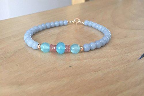 JP_Beads Angelite, Peach Sapphires, 14 Karat Rose Gold, Blue Chalcedony, Beaded Bracelet, Soothing Bracelet, Luxury Bracelet, Stackable Bracelet, 5-6mm
