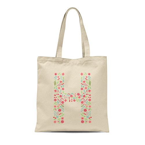 Present H Letter Birthday Personalised Shopper Gift Any Tote Letter Bag Floral Alphabet A4zxwHqAS7