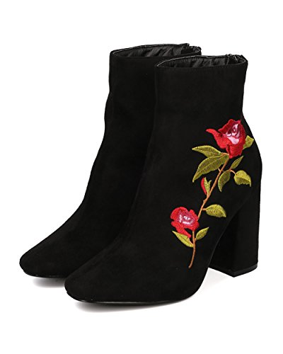 Heel Embroidered Suede Ankle Boot Women HK43 Stitching Block CAPE Chunky Bootie Bootie ROBBIN by Heel Faux Black Flora SqgWTx0wE