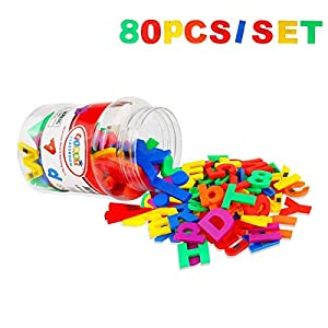 GEYIIE Toddler Toy Aphabet Magnetic Letters Numbers and Symbols Educational Toys and Teaching Aid for Preschool Kids 80 PCS