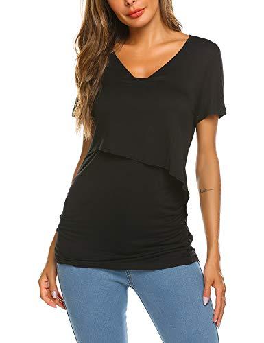 Side-Shirred 2 Layer Maternity Long Sleeve Tee Shirt for Breastfeeding Womens Nursing Tops Transer