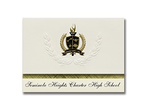 Signature Announcements Seminole Heights Charter High School (Tampa, FL) Graduation Announcements, Presidential Basic Pack 25 with Gold & Black Metallic Foil seal