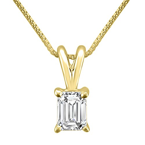 Emerald Cut Solitaire Pendant - 14k Yellow Gold Emerald-Cut Diamond Solitaire Pendant Necklace (1/3 cttw, H-I, VS2-SI1)