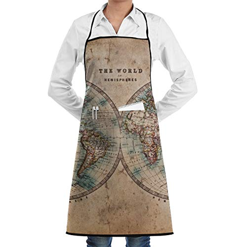 SugerApron The World in Hemispheres Adjustable Bib Apron with Pocket Extra Long Ties for Women, Men, Chef, Kitchen, Home, Restaurant, Cafe, Cooking, Baking, Gardening Etc