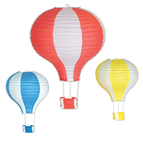 Beistle 52324 Hot Air Balloon Paper Lanterns44; Assorted - Pack of 6 by Beistle