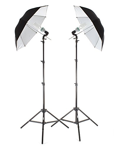 StudioPRO 850W Photography Portrait Studio Continuous Lighting 7'6'' Light Stand Two Light Black on White Umbrella Kit with Two 85W CFL Bulbs by Fovitec