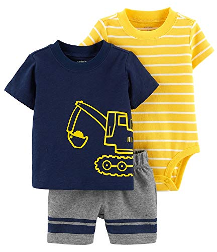 Layette Apparel (Carter's Baby Boys' 3 Piece Layette Set (Baby) (3 Months, Construction/Navy))