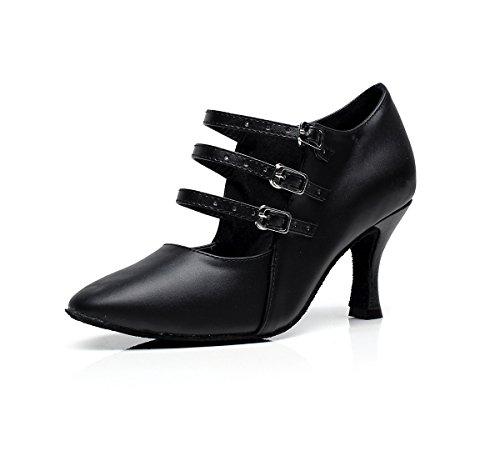 Minishion Womens Designer Tre Spänne Läder Latin Tango Dansskor Kväll Formell Part Pumpar Svart 7.5cm Klack