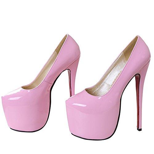 OCHENTA Damen Pumps Stiletto Plateau mit Plattenform-8CM, Absaetzen-18CM Bonbonsfarben Pink Asiatisch 41/EU 40-40,5