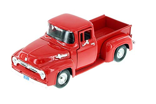 Motormax 1956 Ford F-100 Pick up Truck with Teardrop Trailer, Red 73235/083 - 1/24 Scale Diecast Model Toy Car