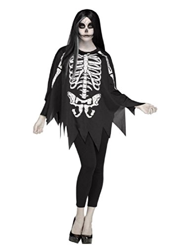 Fun World Women's Skeleton Poncho, Multi, Standard -