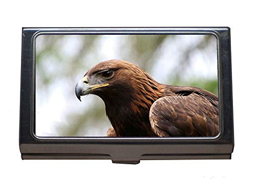 Professional Business Card Holder,Golden Eagle Eagle Golden Bird Nature Wildlife,Stainless Steel Card Holder