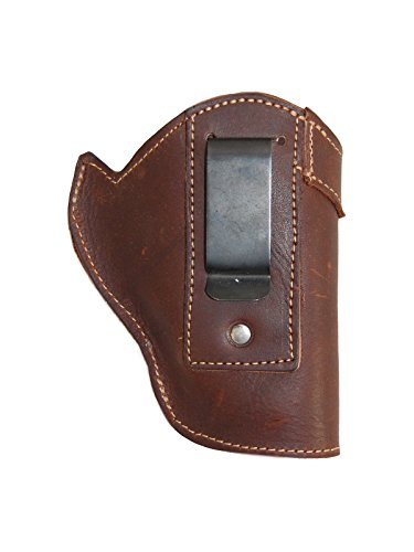 Barsony Holsters and Belts Charter Arms Rossi Ruger LCR S&W .22 .38 .357 Revolver Draw Leather Inside The Waist Band, Brown, Right Hand, Size 2