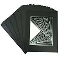 Golden State Art, Pack of 25, Acid-Free Black Pre-Cut 11x14 Picture Mat for 8x10 Photo with White Core Bevel Cut Frame Mattes