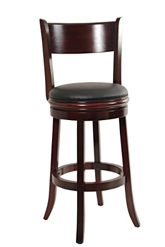 Boraam 44129 Palmetto Bar Height Swivel Stool, 29-Inch, English Tudor - Mahogany Bar Stools