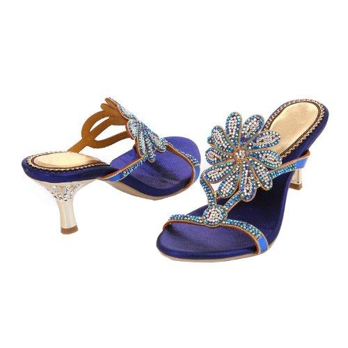 Abby Mns-l005 Femmes Sexy Confort Surprenant Exquis Élégant Confortable Sneak Mode Daim En Cuir Mi Talon Sandales Pantoufles Chaussures Bleu Nous Taille 7