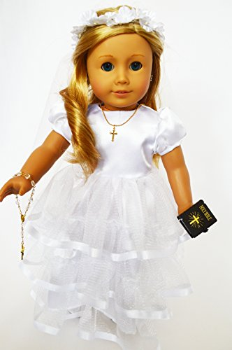(Brittany's Communion Gown for American Girl Dolls Satin Top with Ruffles-Complete Includes Bible-Rosary-Cross Necklace-Shoes)