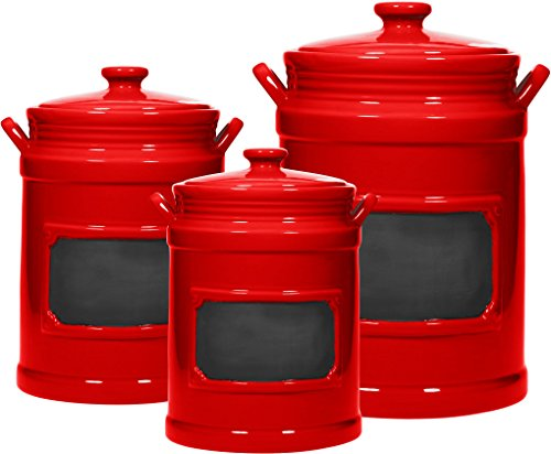 Set of 3 Chalk Canister/Jar ; Use As Storage Coffee - Rice - Flour - Sugar Canister ; Wide Mouth/Round Shape/Gasket with Lid (Red)