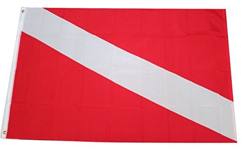(TrendyLuz Flags Dive Flag Diver Down Red White Scuba Diving 3x5 Feet Flag)