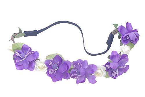 Women Girl Woven Floral Hair Band Flower Headband Crown Hair Garland Party Beach (Purple)