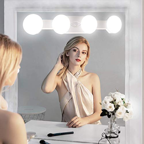 Makeup Lights for Vanity,Cordless Professional Super Bright with 4 LED Bulbs Brightness Color Temperature Adjustable Portable Rechargeable Cosmetic Mirror Light(Mirror Not Included)