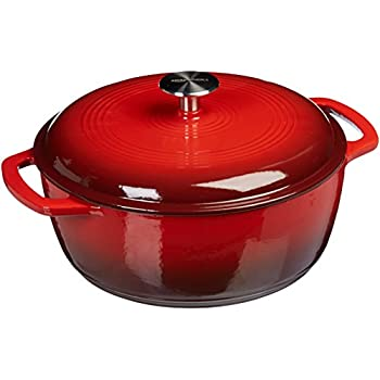 AmazonBasics Enameled Cast Iron Dutch Oven - 6-Quart, Red