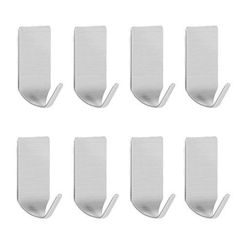 Stainless Steel Hanging (LuckIn Adhesive Hooks 3M Stainless Steel Hook Heavy Duty Holders for Hanging Keys Robes Towels in Kitchen Bathroom (8 Pcs))