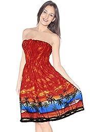 La Leela Soft Smooth Likre Beachwear Hawaiian View Maxi Skirt Short Tube Orange