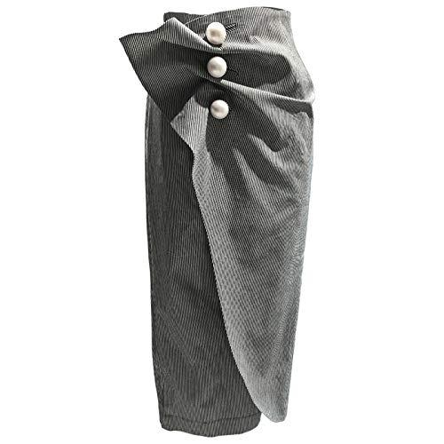 DQHXGSKS Faldas de Perlas de Rayas Acanalada Cintura Alta ...
